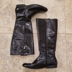 Enzo Angiolini Good Cond Leather Black Knee Boots